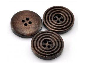 Knoflík dřevěný 4-dírky vel. 20mm tmavý s drážkami