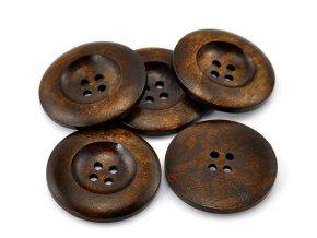 Hoomall Hot 20PCs Dark Coffee 4 Holes Round Wooden Buttons 35mm 1 3 8 Dia Sewing