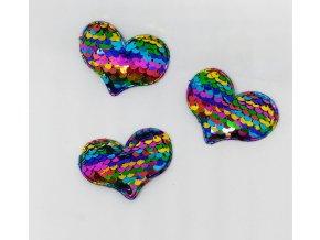 Nášivka srdíčko s flitry barevnými