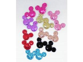 Nášivka Mickey barevné třpytky