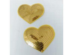 Nášivka srdíčko velké s flitry zlatými