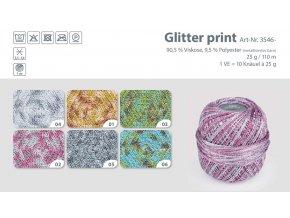 BsWS Gruendl Haekelgarn 3546 Glitter print Farbkarte