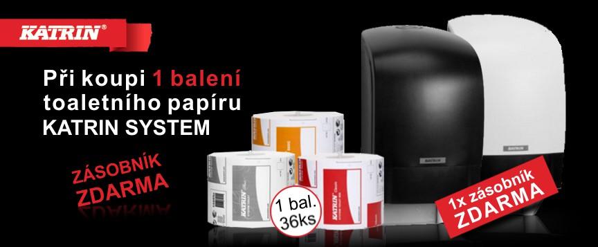 Toaletní papír Katrin System + zásobník Zdarma