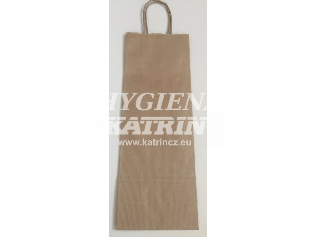 Papírová taška na víno 14x8x39cm - hnědá