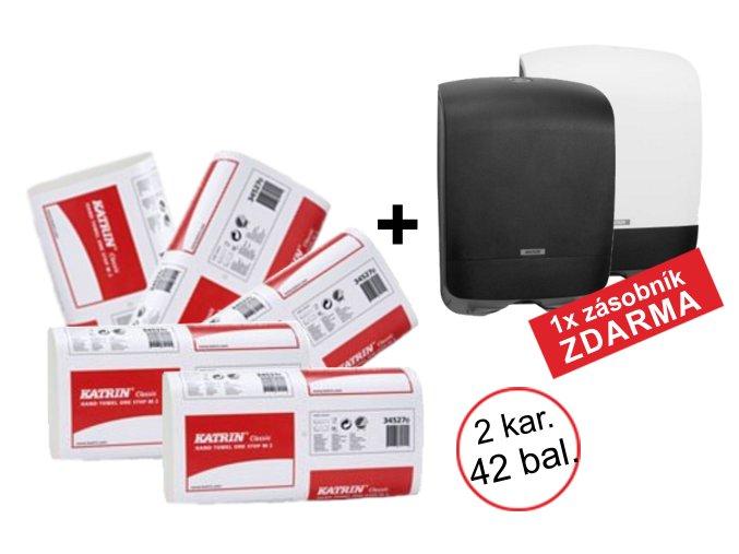 Papírové ručníky ZZ Katrin Classic One Stop M2 - 345287 - 2 kartony + zásobník ZDARMA