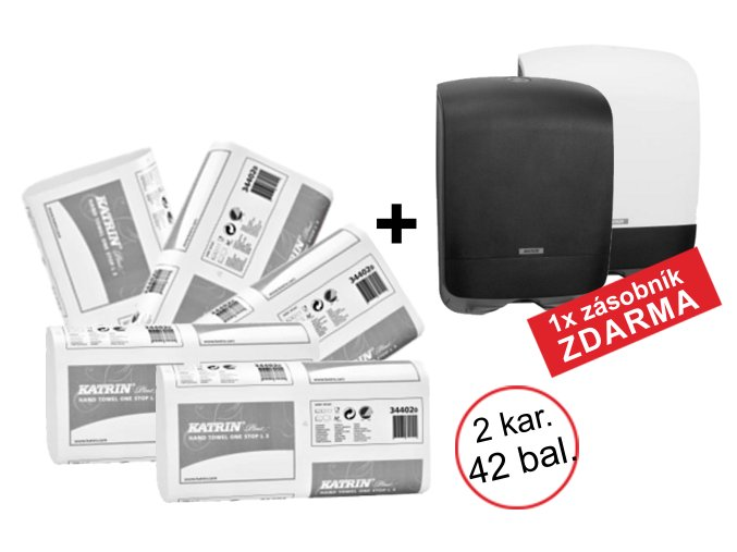 Skládané papírové ručníky KATRIN PLUS One Stop L3 - 344020 - 2 kartony + Zásobník ZDARMA