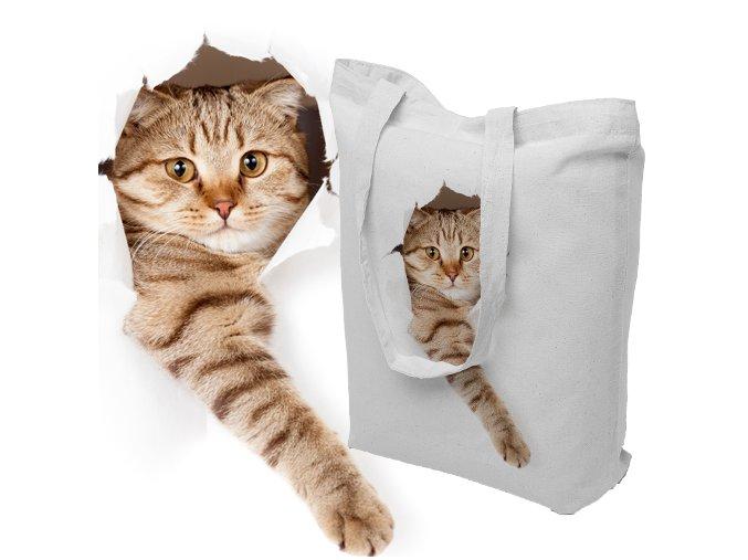 Nákupní taška z přírodní bavlny KOTĚ silná