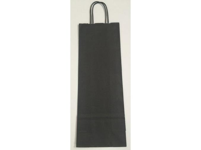 Papírová taška na víno 14x8x39cm - černá