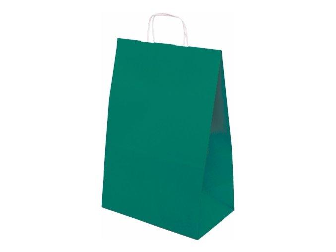 Taška papírová barevná 305x170x445mm - tmavě zelená