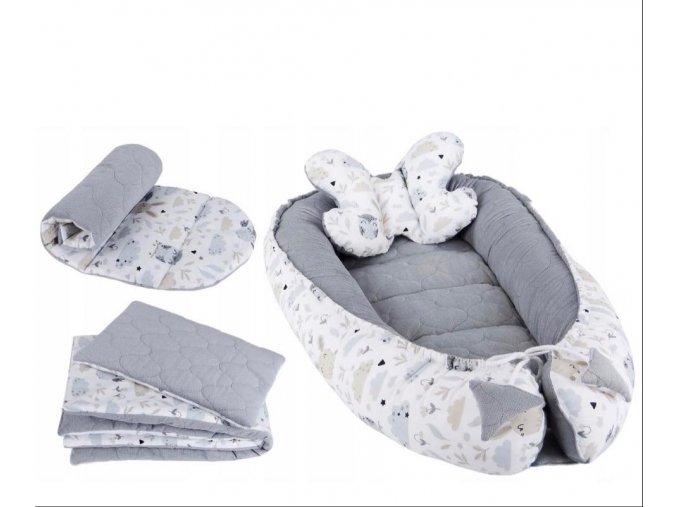 Hnízdečko pro miminka 5v1 - bavlna-vafle