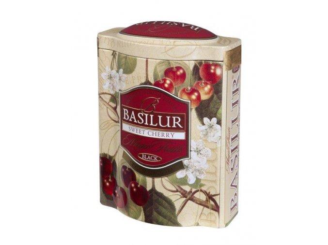Basilur BLACK SWEET CHERRY plech 100g, cejlonský čaj s příchutí třešní, sypaný, 100g,  plechová dóza, Sweet cherry.