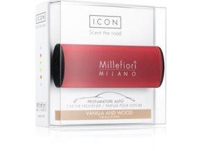 MILLEFIORI Icon Classic vůně do auta vanilka a dřevo, červený dekor. Vanilla & Wood. Red design