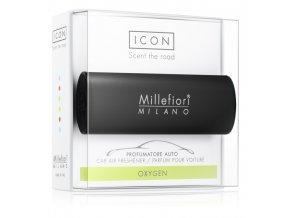 MILLEFIORI Icon Classic vůně do auta svěží vzduch, černý dekor. Oxygen. Black design