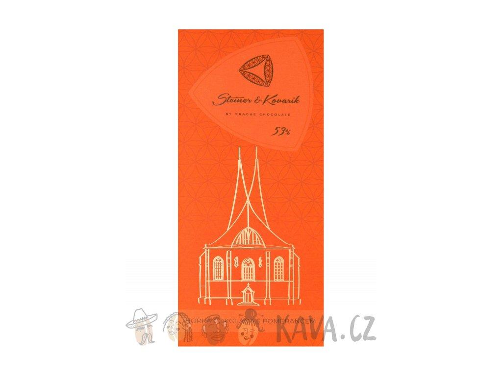 Pražská čokoláda Hořká čokoláda s kandovanou pomerančovou kůrou