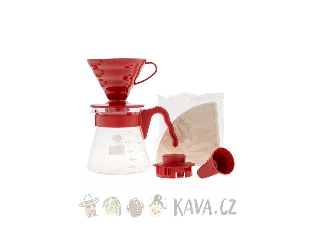 hario dripper set V60 02 cerveny