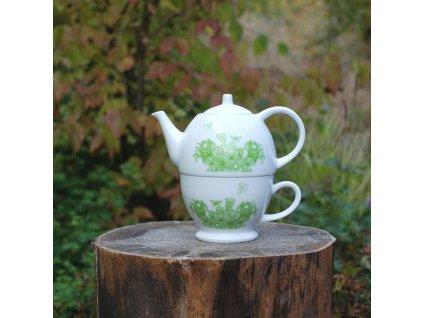 Vintage Teas Konvička a šálek zelená