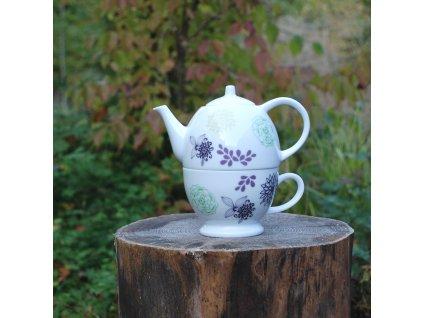 Vintage Teas Konvička a šálek květinová