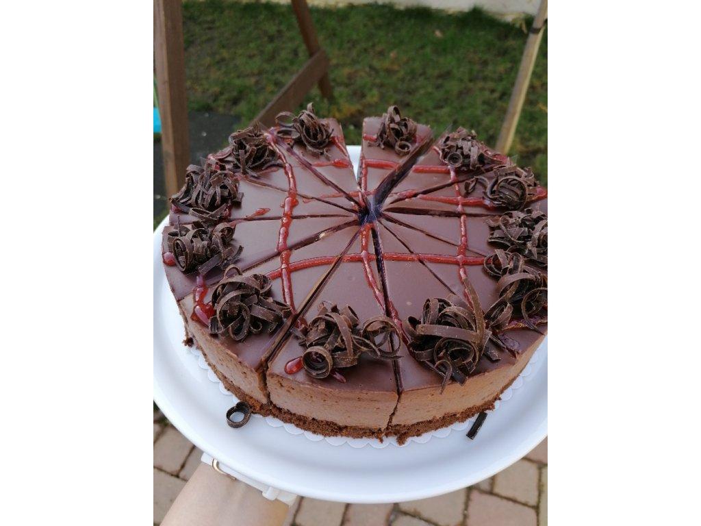 Čokoládový mousse s malinami