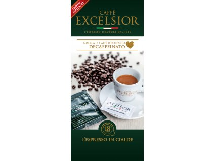 Coffee pods, pody - káva Excelsior DECAFFEINATO (bezkofeinová) Coffee 18ks