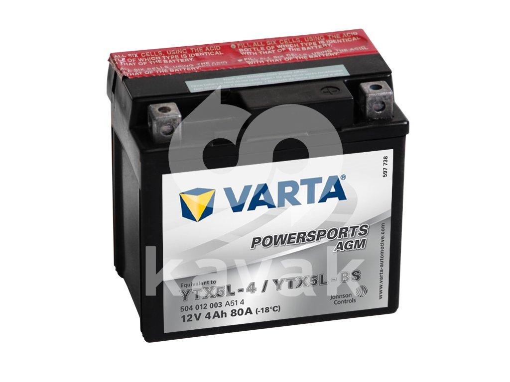 Varta AGM 12V 4Ah 80A 504 012 003 YTX5L-BS