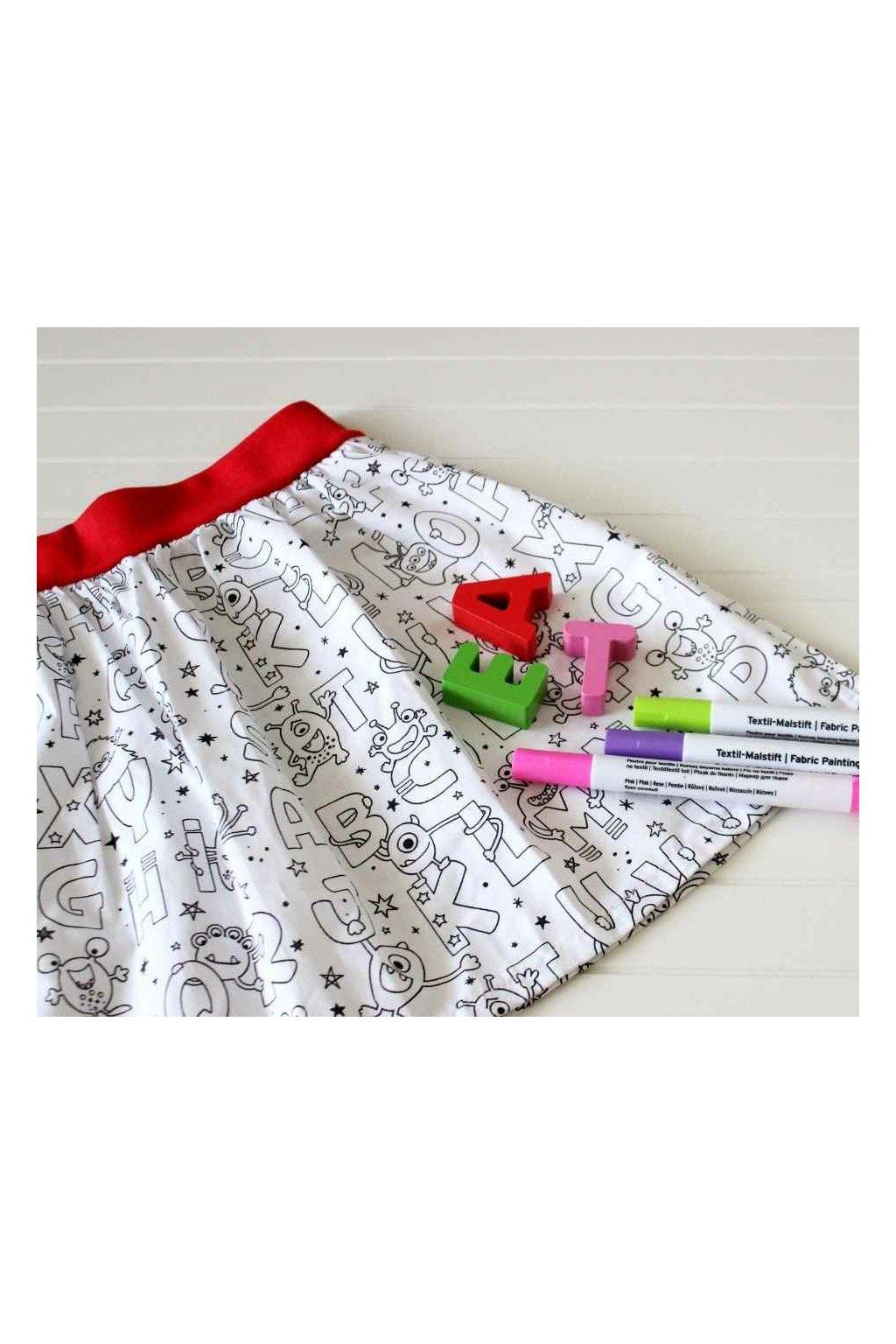 Vybarvovací dětská sukně - Písmenka