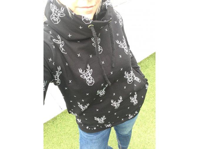 Dámská mikina - GEO Jelen černá