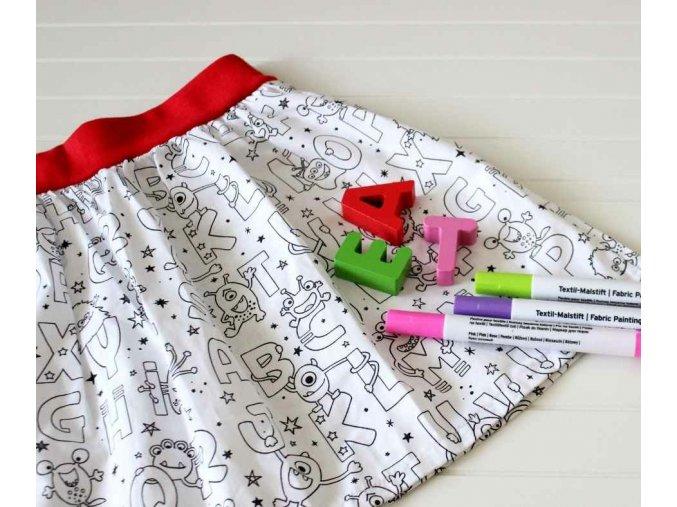 Malovaná dětská sukně - Písmenka