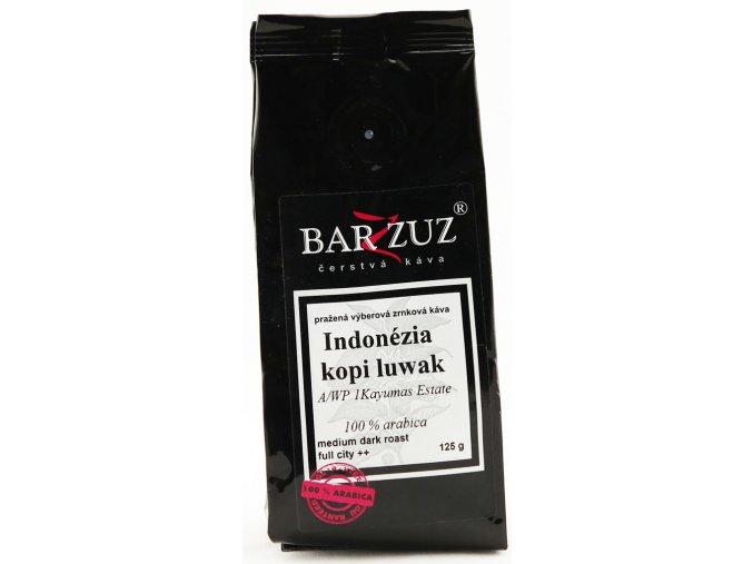 BARZZUZ Indonézia Kopi Luwak, zrnková káva 125g
