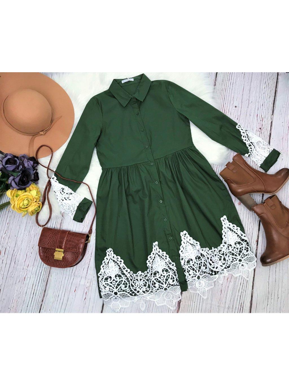 Košeľové šaty Green Crochet