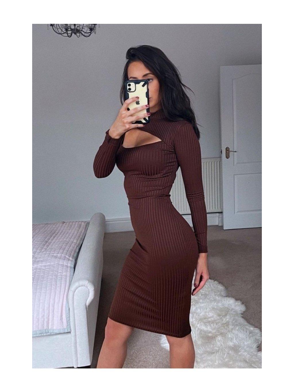 hnedé vrúbkované midi šaty