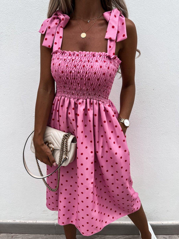 ružové bodkované midi šaty