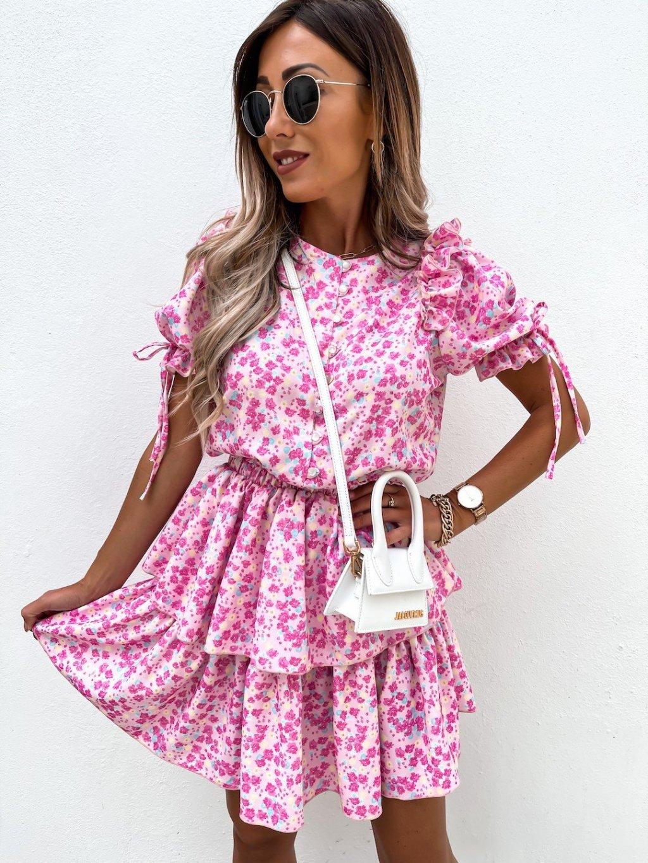 ružové kvetované šaty