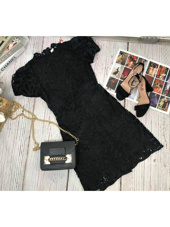 čierne elegatné Šaty čipkované