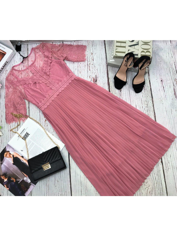 staroružové plisované midi šaty
