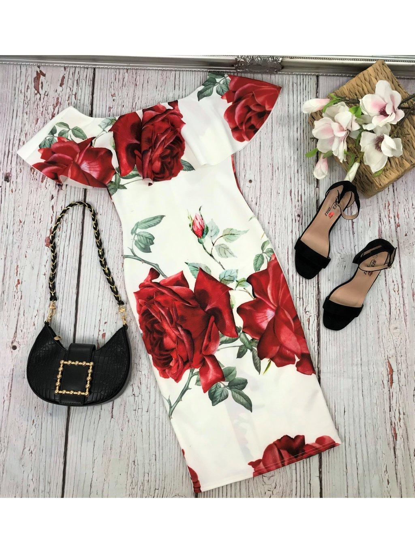 midi šaty s ružami
