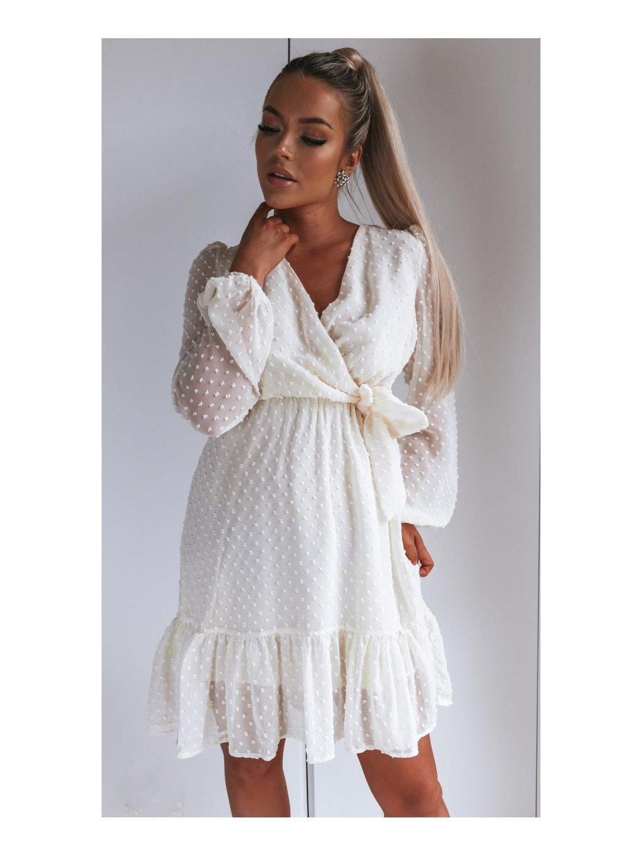 krémové šaty s dlhým rukávom