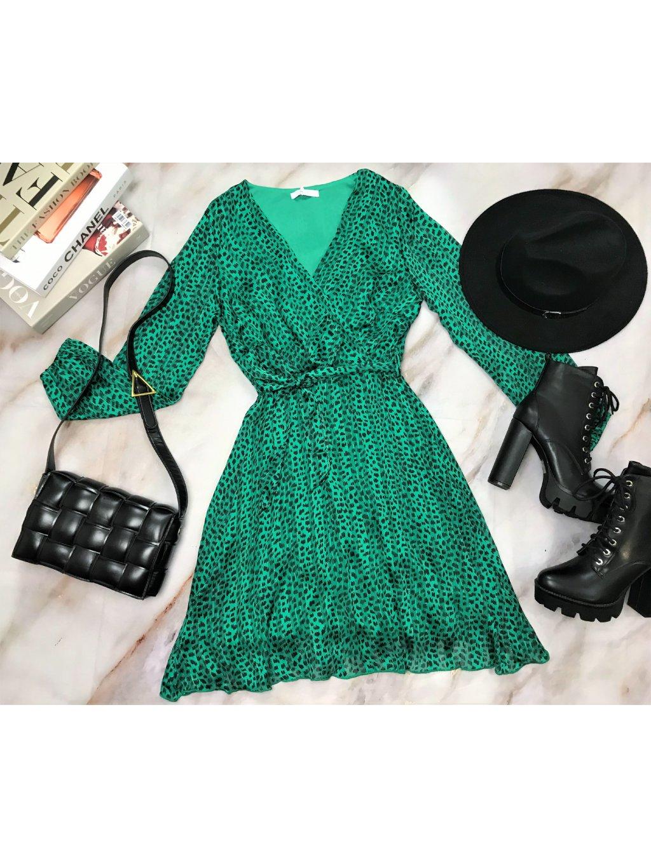 zelené leopardie šaty