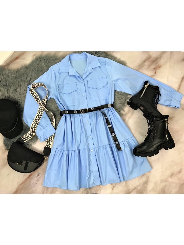 modré košeľové šaty voľnejšieho strihu