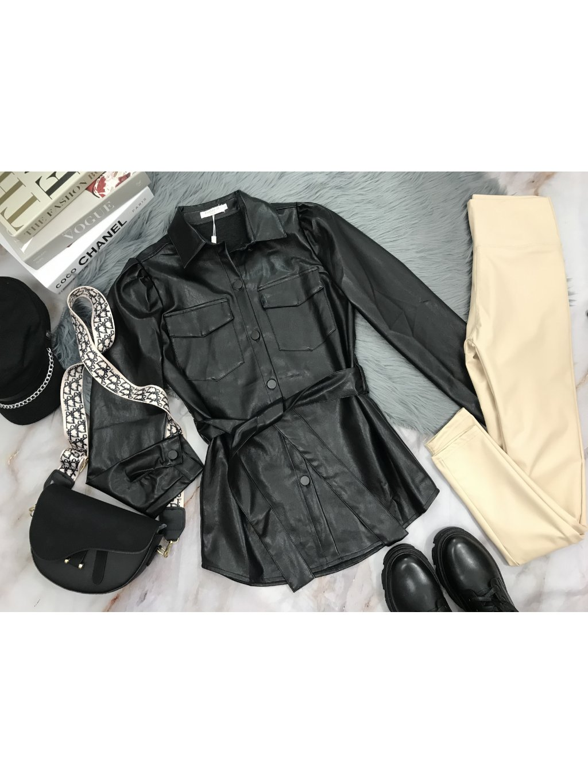 čierna koženková košela