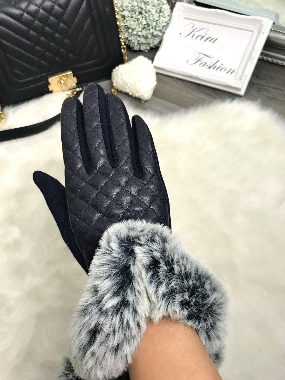Prešívané rukavice s kožušinou -tmavomodré