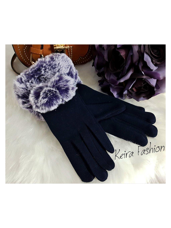 tmavofialové rukavice s veľkou kožušinou cicou