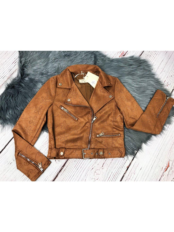 velúrový hnedý krátky kabát