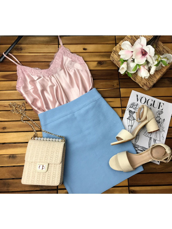 modrá bandážová sukňa