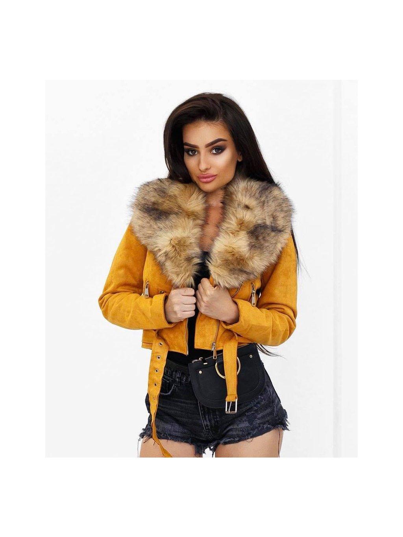 žltá velúrová bunda s kožušinou