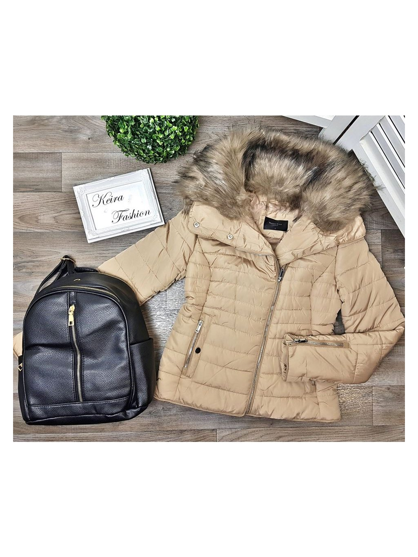 béžová zimná bunda s kožušinou