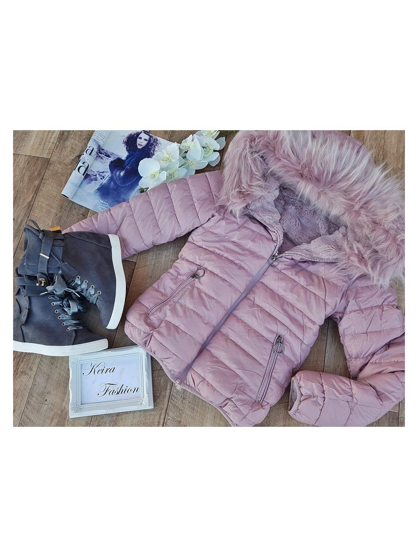 ružová obojstránna zimná bunda
