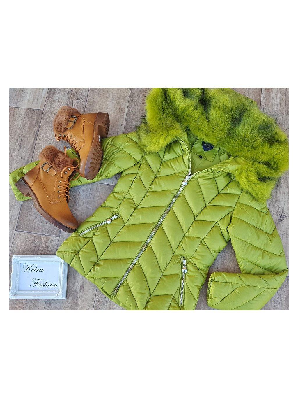 zelená zimná bunda s kožušinou