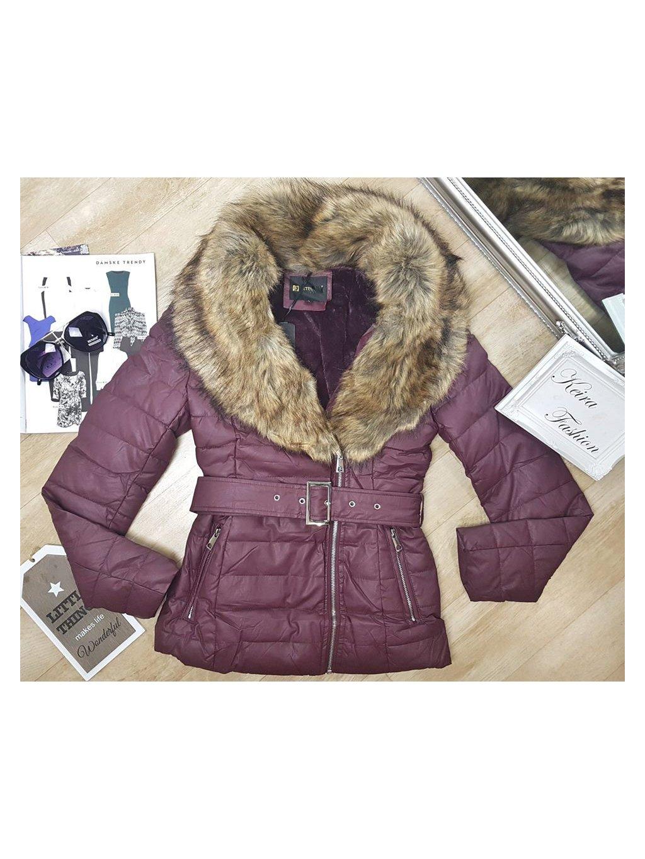 bordová zateplená koženková bunda