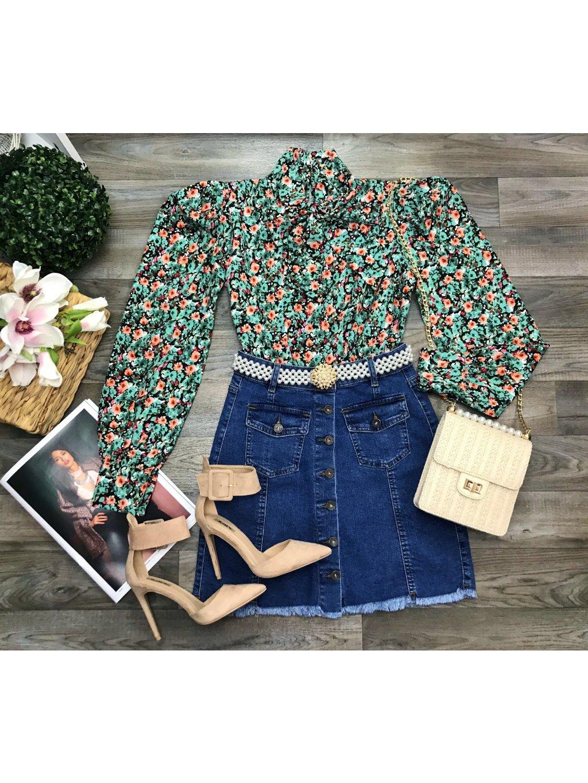 riflová sukňa s gombíkmi