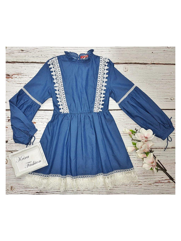 dámske riflové šaty s krajkou